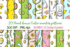 Hand drawn Easter seamless patterns png and clip art set Product Image 1