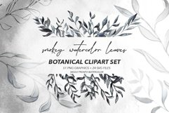Smokey Watercolor Botanical Leaves - PNG and SVG Artwork Product Image 1