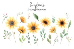 Watercolor Sunflowers Clipart Product Image 2