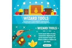 Wizard tools banner set, flat style Product Image 1