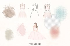 White Pink Flowers Winter Leaves Wedding Bride Clipart Product Image 4
