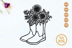 Cowboy Boots Sunflower SVG Product Image 2