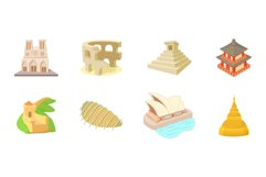Hystorical building icon set, cartoon style Product Image 1