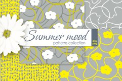 White and Yellow Simple Floral Vector Seamless Patterns Product Image 1