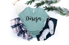 Bella Canvas Mockup 3001 Heather Prism Dusty Blue T-shirt Product Image 1