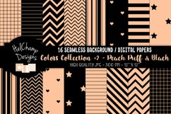 16 seamless Digital Papers - Peach Puff and Black - HC164 Product Image 1
