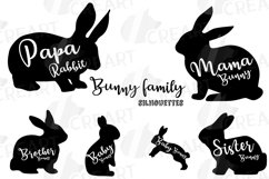 Rabbit family silhouettes, bunny silhouette svg cutting file Product Image 1