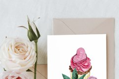Cupcake Composition Watercolor Clipart, Floral Cupcakes Png Product Image 3