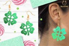 St.Patricks Day Clover Earrings SVG, Shamrock Earrings svg Product Image 6