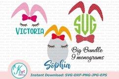 Bunny ears eggs kid monogram bundle set svg dxf clipart png Product Image 1