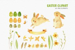 Easter Bunny - watercolor clipart, seamless patterns & cards Product Image 2