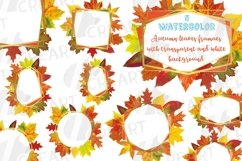 Fall leaves golden geometric frame templates. Autumn wedding Product Image 1
