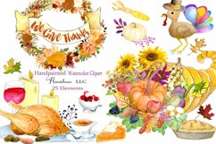Watercolor Thanksgiving Clipart - Horn of Plenty, PNG Product Image 1