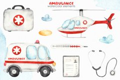 Watercolor Ambulance. Clipart, cards, seamless patterns Product Image 9