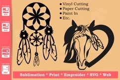 Dreamcatcher and Horse in a Heart - SVG - Product Image 5