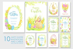 Happy Easter invitations and cards vector set Product Image 1