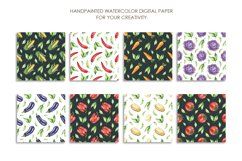 Watercolor vegetable mix digital paper pack. Food texture. Product Image 2