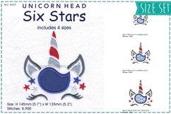 Unicorn Head Six Stars Applique Embroidery Design Product Image 1