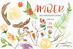 Amber forest. Fall watercolor clipart Product Image 3