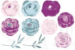Burgundy and Pink Flowers Clipart, Floral Wedding Bouquets Product Image 2