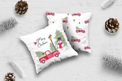 Farm fresh christmas trees, Red old car, Snowman clipart Product Image 3