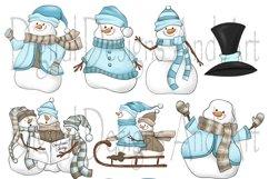 Blue snowman clipart Product Image 3