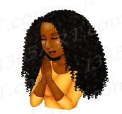 Praying Woman African American Natural Hair Clipart PNG Product Image 3