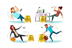 Caution Wet Floor Sign Vector. People Slips On Wet Floor. Product Image 1