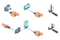 Selfie stick icon set, cartoon style Product Image 1