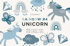 Unicorn Rainbow Butterfly Donut Diamond Vector Clipart #4 Product Image 1