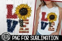 LOVE -Sunflower -Vintage Flag - July 4th - PNG Sublimation Product Image 1