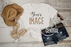 Women's Summer T-Shirt Mockup Flatlay JPG Product Image 1