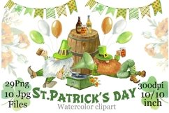 St. Patrick's Day,Gnomes watercolor clipart, digital paper. Product Image 1