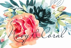 Wreath clipart Watercolor Coral Navy Flowers Frame invite Product Image 4