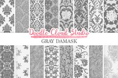 Gray Damask digital paper, Swirls patterns, Digital Floral Damask, Grey background, Instant Download for Personal & Commercial Use Product Image 1