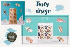 Watercolor sushi set of beautiful tasty japanese sushi Product Image 5