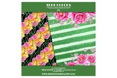 Yellow Red Rose Flower Story Digital Paper Pack Mint Black Product Image 4