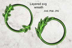 Layered SVG Wreath - Multilayered Floral SVG - sSVG Cut File Product Image 1