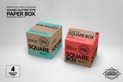 Square Slotted-Type Paper Box Packaging Mockup Product Image 2