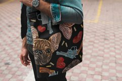 Embroidery style bulldog, hearts and guns Product Image 4