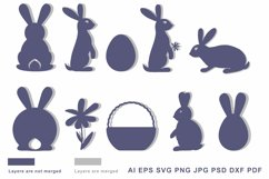 Bunny silhouette SVG Cut file for Crafters Easter Egg Basket Product Image 2