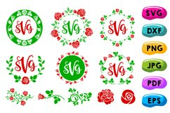 Rose Monogram Frames Svg, Circle Flowery Initial Borders Svg Product Image 1