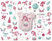 Valentine Gnomes - clipart and digital paper Product Image 2
