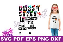 SVG Cowboy Cowgirl Birthday Party Age Numbers svg cut files for cricut or silhouette, Use Png files to create a printable, Western Numbers Product Image 1