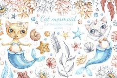 Watercolor Cat Mermaid clipart. Seashells marine clip art. Product Image 1