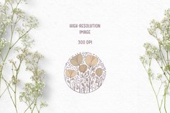 Hand-drawn boho clipart | Beige wildflower clipart Product Image 4