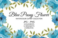 Blue Peony Flower Watercolor Clipart Collection Product Image 1