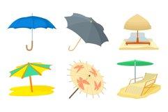 Umbrella icon set, cartoon style Product Image 1