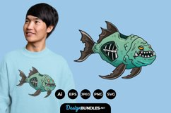 Zombie Piranha for T-Shirt Design Product Image 1