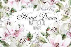 Hand Drawn watercolor flowers lily Product Image 1